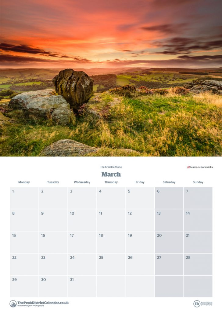 The Peak District Calendar layout